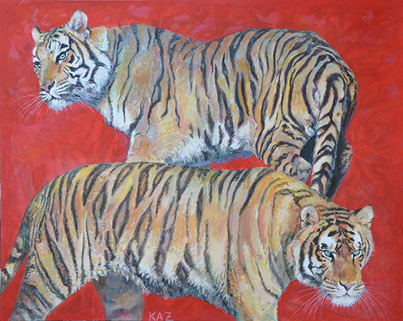 Two Tigers Red 2012 80x100