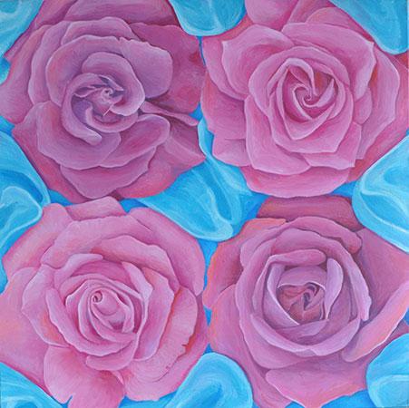 Vier Rosen 2002 60x60